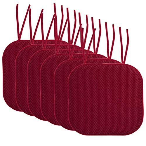"""Sweet Home Collection Chair Cushion Memory Foam Pads with Ties Honeycomb Pattern Slip Non Skid Rubber Back Rounded Square 16"""" x 16"""" Seat Cover, 6 Pack, Wine Burgundy"""