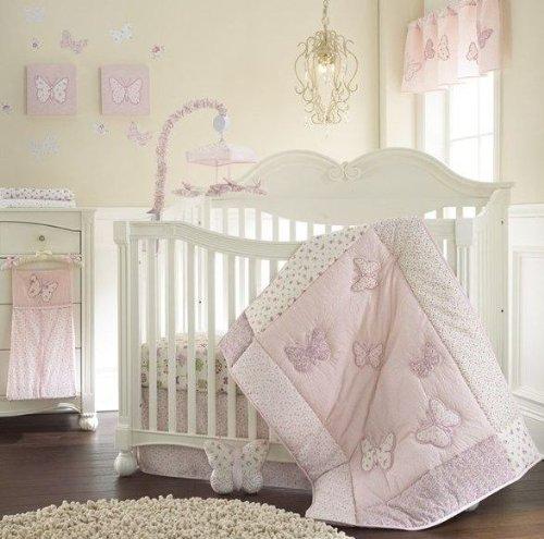 - Laura Ashley Baby Bella 4 Piece Crib Set Comforter, Dust Ruffle Diaper Stacker Crib Sheet