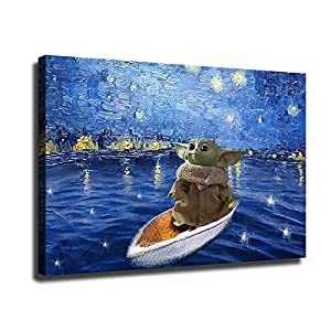 Star Wars Mandalorian Poster Baby Yoda on A Boat Under The Stars HD Print Canvas Painting Xmas Gift Home Living Room Bedroom Wall Art Office Painting Christmas Decoration (16″x24″,01-No Framed)