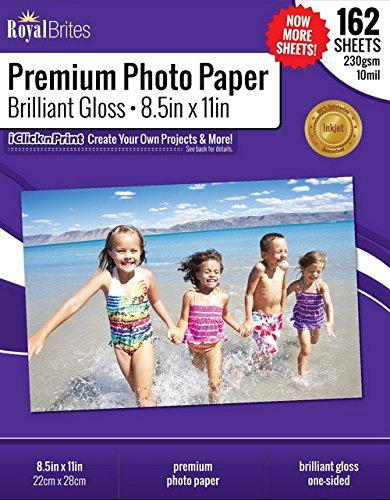 Royal Brites Brilliant Premium High Gloss Photo Paper, 8.5 x 11 Inches, 162/Pack (47271)