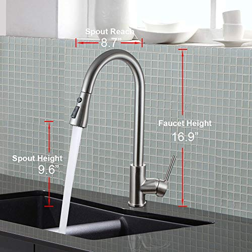 Moone Commercial Single Handle Kitchen Faucet Pull Down Sprayer Brass Body Pull Out Spray Kitchen Sink Faucets Stainless Steel Brushed Nickel by Moone (Image #5)