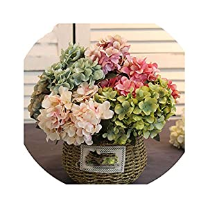 Lucky-fairy High-Grade Hydrangea Artificial Silk Flowers Bridal Hand Bouquet Fake Flowers for Wedding Home Decoration Flores Artificiales 70