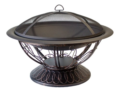 Hiland AZ Patio Heaters Fire Pit with Scroll Design, Wood Burning by Hiland