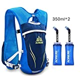 Cheap AONIJIE Hydration Vests Running Hydration Pack Backpack for Women and Men Lightweight Camel Backpack with Water Bottles for Trail Running Cycling Marathon Race 5.5L(blue-350ml)