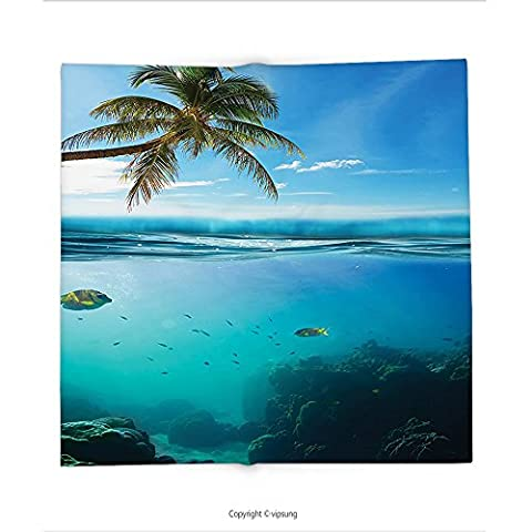 Custom printed Throw Blanket with Ocean Decor Collection Tropical Underwater Shot with Surface Coconut Tree and Sky Aqua Water Theme Paradise Image Turq Super soft and Cozy Fleece (Nice Shot Snoopy)