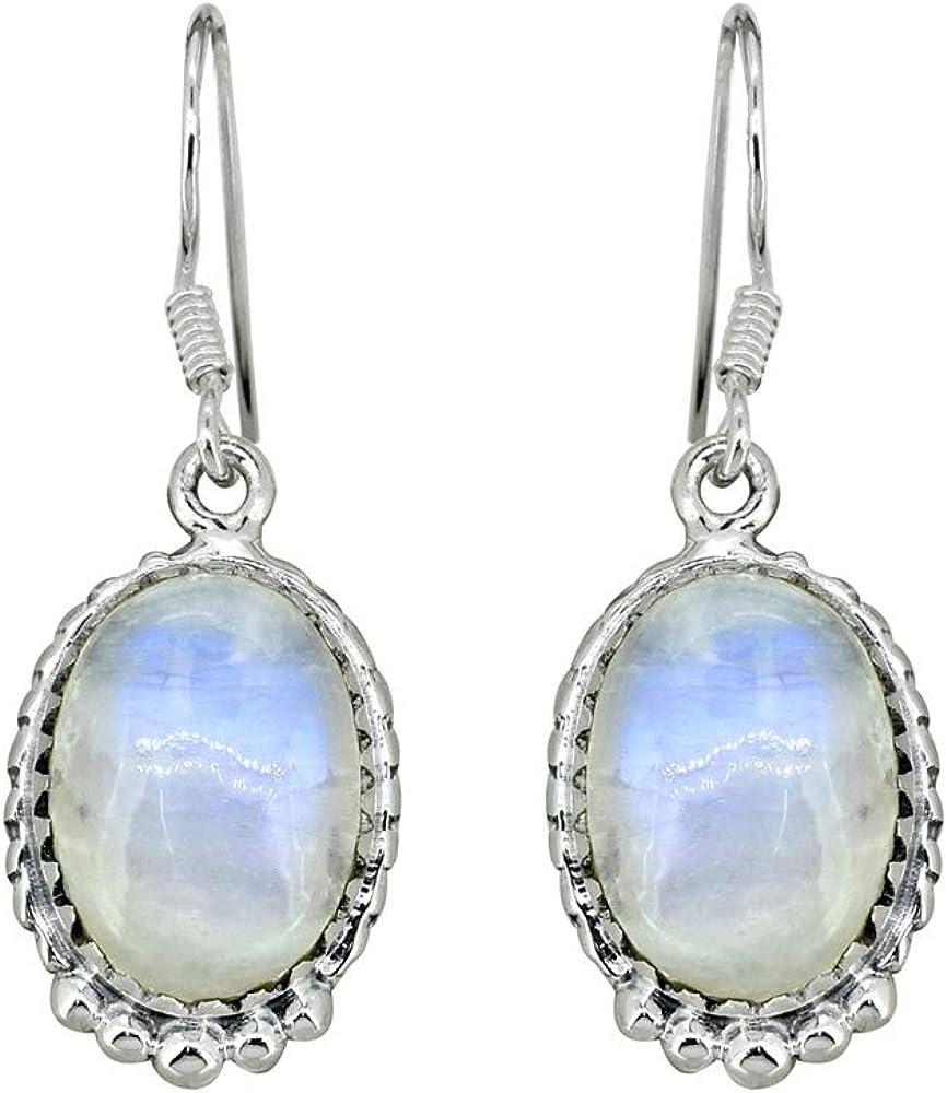 YoTreasure 1 1//4 Oval Moonstone Solid 925 Sterling Silver Dangle Earrings