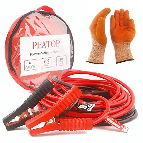 [해외]점퍼 케이블 헤비 듀티 4 게이지 900 앰프 20 피트 구리 턱 휴대 가방 안전 장갑 (4AWG x 20 피트 부스터 케이블)에 의해 PEATOP / Jumper Cables Heavy Duty 4 Gauge 900 AMP 20ft Copper Jaw with Carry Bag Safety Gloves (4AWG x 20FT booster c...