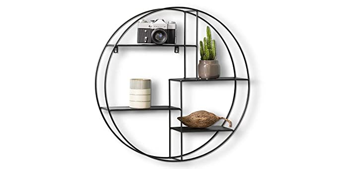 53 opinioni per LIFA LIVING Mensola da Muro Design, Metallo Nero, Mensole Parete sospesa con 4