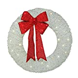 36'' Pre-Lit White and Red Outdoor Christmas Wreath - Warm White LED Lights