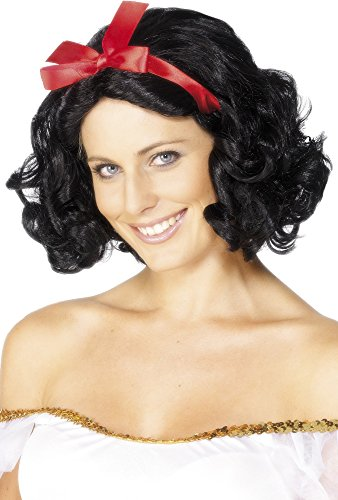 Smiffy's Women's Fairytale Wig with Ribbon Short and Wavy, Black One -