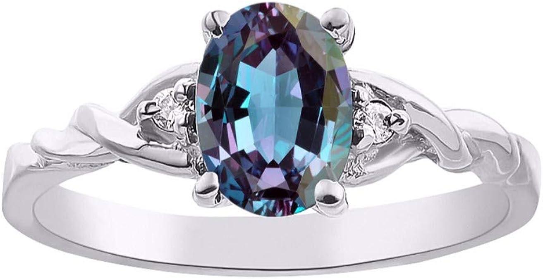 Rylos Alejandrita simulada clásica/Topacio místico y anillo de Diamantes - Piedra de nacimiento de junio