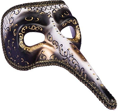 Forum Novelties White Black & Gold Long Nose Masquerade Men Mask