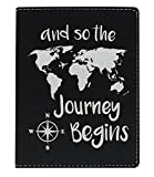 Cute Passport Holder for Women the Journey Begins World Map Cute Passport Wallet Gifts for Travelers World Travel Laser Engraved Leatherette Passport Holder Black