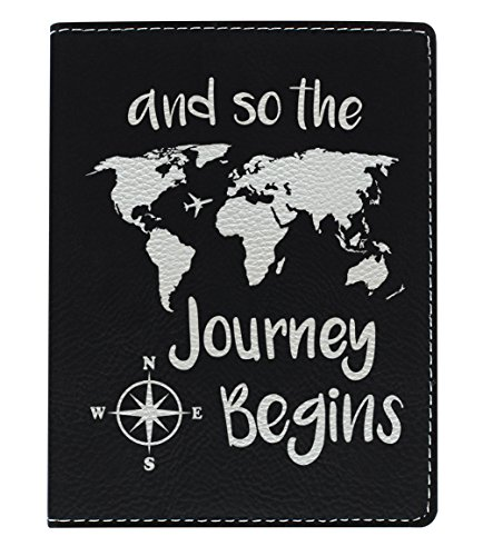 Cute Passport Holder for Women the Journey Begins World Map Cute Passport Wallet Gifts for Travelers World Travel Laser Engraved Leather Passport Holder Black by ThisWear