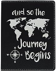 Cute Passport Holder for Women the Journey Begins World Map Cute Passport Wallet Gifts for Travelers World Travel Laser Engraved Leather Passport Holder Black