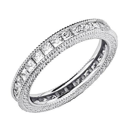 .925 Sterling Silver Rhodium Plated Wedding Eternity Band