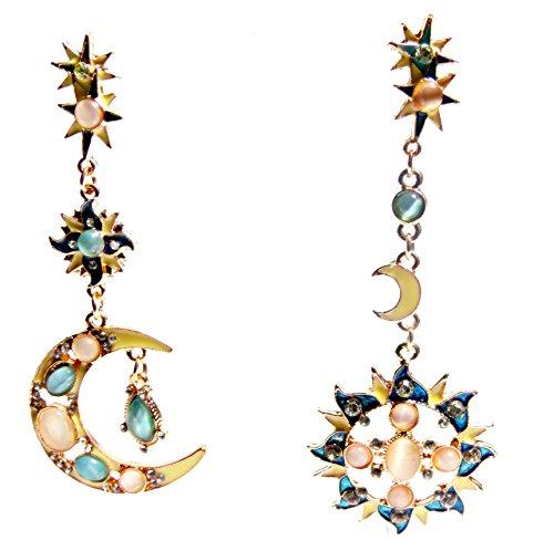 "Asymmetric 3.5"" Crescent Half Moon & Sun Sunburst Celestial Symbol Faux Blue Opal, Yellow Gold Tone Mismatched Dangle Drop Half Hoop Earrings -  Pure Ziva, PZ.B.E.E055"