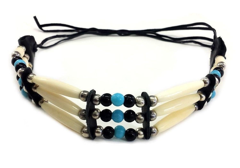 Handmade 3 Line Buffalo Bone Hairpipe Traditional Tribal Choker Necklace