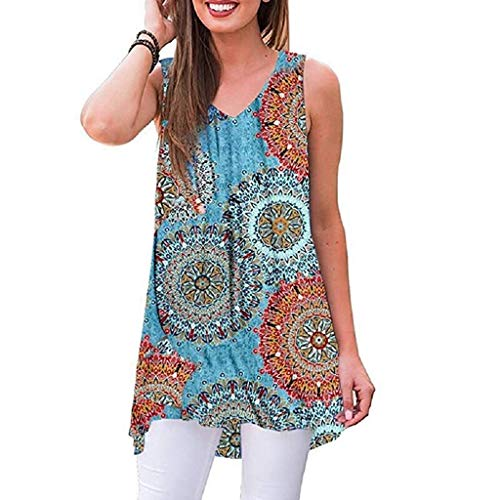 (GHrcvdhw Women's Summer Shirts Floral Printed Sleeveless V-Neck Hi-Low Hem T-Shirt Tops Blouse Blue)
