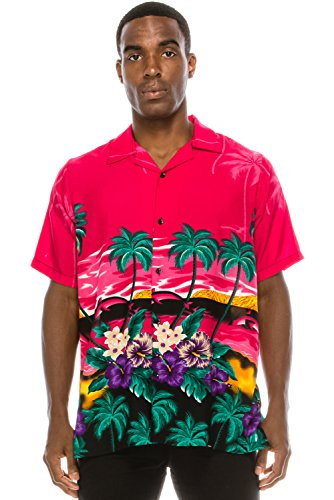 Tree Graphic - JC DISTRO Mens Hipster Hip Hop Palm Tree Graphics Button up Pink Hawaiian Shirt XL