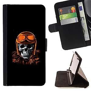 BullDog Case - FOR/Samsung Galaxy S3 Mini I8190Samsung Galaxy S3 Mini I8190 / - / GOLDEN BROWN RACING BIKER PILOT SKULL /- Monedero de cuero de la PU Llevar cubierta de la caja con el ID Credit Card Slots Flip funda de cuer