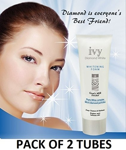 (GET IN ONE WEEK) TWO TUBES of IVY DIAMOND WHITE Milk Face Wash / Facial Cleanser with MICRO-DIAMOND PARTICLES & GOAT MILK (180G / 6.3 OZ each TUBE) by Leivy - Anti-aging Moisturizing