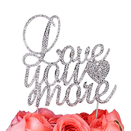 - LOVENJOY with Gift Box I Love You More Cake Topper Rhinestone Crystal Wedding Engagement Decoration Silver (4.5-inch)