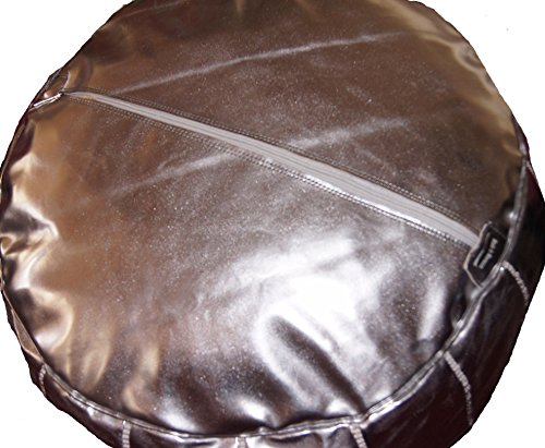Moroccan Poof, Leather, Silver by Moroccan Poofs (Image #2)