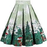 Dressever Women's Vintage A-line Printed Pleated Flared Midi Skirts Christmas Trees Medium
