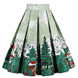 Dressever Women's Vintage A-line Printed Pleated Flared Midi Skirts Christmas Trees X-Large