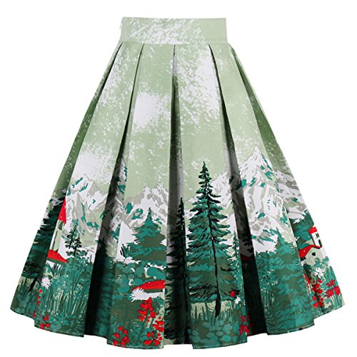 (Dressever Women's Vintage A-line Printed Pleated Flared Midi Skirts Christmas Trees)