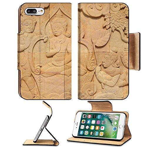 MSD Premium Apple iPhone 7 Plus Flip Pu Leather Wallet Case thai style sandstone carving art on the wall temple IMAGE 28039378 (Figure Sandstone)