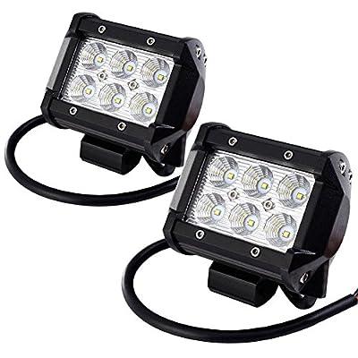 LED Light Bar ,Holifar 2Pcs 18W Driving Lights Waterproof Off Road Lights Boat Lights Led Light Fog Light