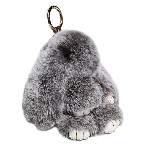 RitzyBay Handmade Bunny Rabbit Fur Keychain for Women's Bag Charms or Car Pendant (Small, ()