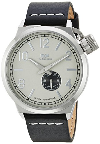 Vestal 'Canteen Italia' Quartz Stainless Steel and Leather Dress Watch, Color Black (Model: CNT3L03)