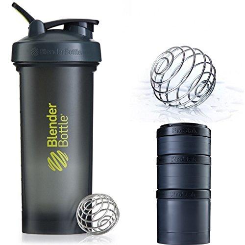 Blender Bottle Pro45 & ProStak Expansin 3Pak (Gray Green : Full Black)