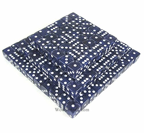 Blue Standard Glitter Dice d6 (Six Sided) 16mm (5/8in) Pack of 200 Dice Koplow Games