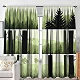 Petpany Curtains for Living Room Forest,Horizontal Banners with Abstract Wild Green Growth on The Hills,Pistachio Green Beige Black,Darkening and Thermal Insulating Draperies 84'x84'