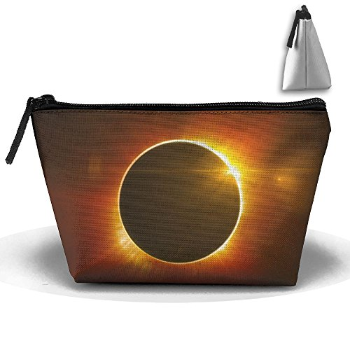 (Solar Eclipse Makeup Bag Storage Portable Travel Wash Tote Zipper Wallet Handbag Carry)