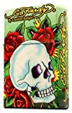 Ed Hardy Jumbo Oil Lighter Cigarette Cigar Oversized, Tatto Artist Christian Audigier Flint Flip Top Refillable (Green Skull) Qty 1