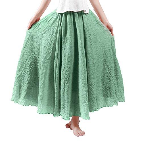 (HOYMN Women's Weekend Skirts Full/Ankle Length Maxi Skirt Linen Solid Color Skirt 37