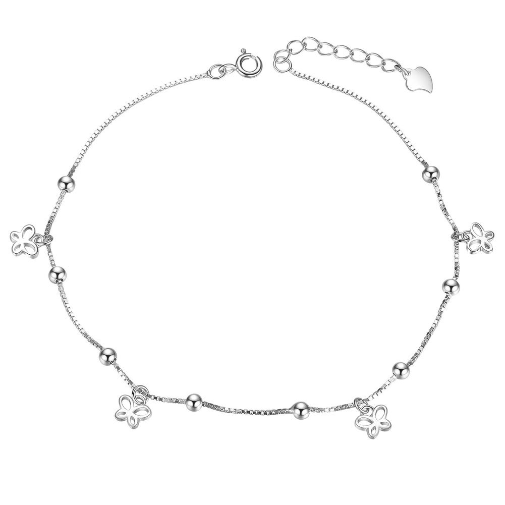 Sweetiee 925 Sterling Silver Anklet with Butterfly and Small Beads Platinum 210mm for Woman JA25A