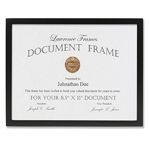 Lawrence Frames Black Wood Certificate Picture Frame, Galler