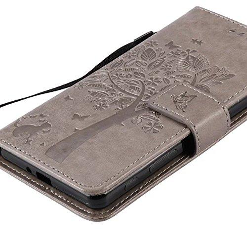 SRY-Funda simple Cubierta de la caja de Sony Xperia X Performoce, cuero de la PU con relieve Gato y patrón de árbol Funda de soporte Funda de silicona suave para Sony X Performoce Conveniente y practi Gray