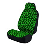 Coverking Universal Fit 50/50 Bucket Animal Fashion Print Seat Cover - Ashen Jaguar (Grey with Green Background)