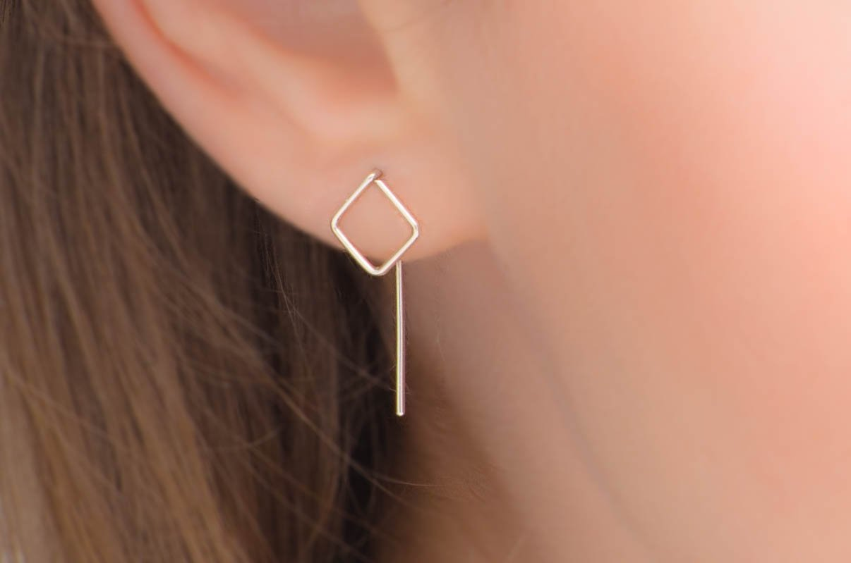 Square Ear Jackets Threader Earrings in Sterling Silver or 14k Gold Filled Minimalist Ear Threads Pull Through Studs