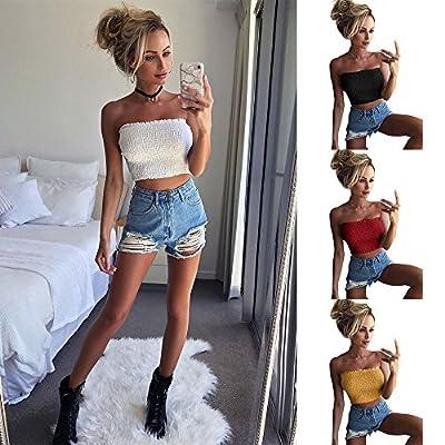 Lelili Women Sexy Bandeau Tops Strapless Sleeveless Crop Tops Cami Shirt Bra Lingerie Breast Wrap Blouse