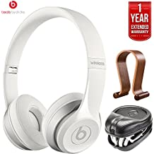 Beats By Dre Dr. Dre Solo2 Wireless On-Ear Headphones MHNH2AM/A - White (Certified Refurbished) + HardBody PRO Full Sized Headphone Case + Wood Headphone Stand w/1 Year Extended Warranty Pack