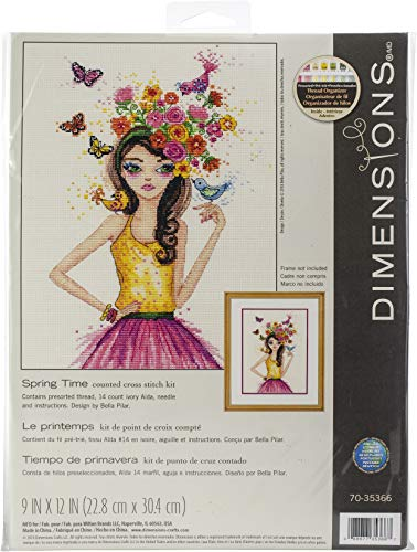 Dimensions 'Spring Time' Counted Cross Stitch Kit Craft for Girls, 14 Count Ivory Aida Cloth, 9