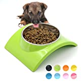 Super Design Removable Stainless Steel Dog Cat Bowl with Melamine Stand, for Food and Water Feeder